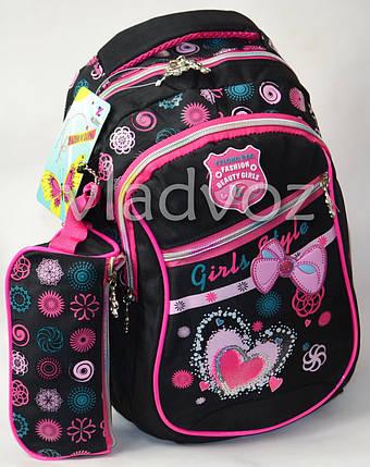 94bb57eeb6f8 ▷ Купить Школьный рюкзак для девочки с пеналом бантик чёрный в ...