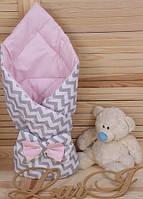 Конверт-одеяло весна-осень для девочки, Волна, с бантом