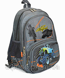 Школьный рюкзак для мальчика с ортопедической дышащей спинкой серый