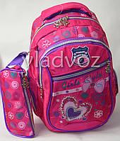 Школьный рюкзак для девочки с пеналом бантик малиновый