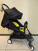 Детская коляска YOYA 175 A+ Black ЭКОКОЖА, 3 ярусный капор, легкая, складная, компактная Йойа черная