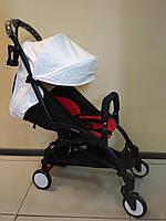 Детская коляска YOYA 175 A+ White ЭКОКОЖА, 3 ярусный капор, легкая, складная, компактная Йойа белая