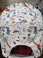 Детская коляска YOYA 175 A+ Comics ЭКОКОЖА, 3 ярусный капор, легкая, складная, компактная Йойа белая с принтом