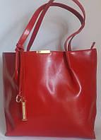 Женская красная сумка из натуральной кожи на длинных ручках