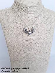 Подвеска кулон Сердце с крыльями с цепочкой
