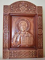 Резная икона из дерева Господа Спасителя (Спас Вседержитель, Пантократор), фото 1