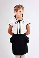 Детская блузка для девочки с короткими рукавами и завязками