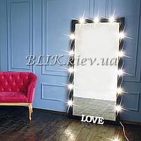Ростовое зеркало с подсветкой (черный глянец, 180х90), фото 1