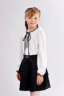 Детская блузка для девочки с длинными рукавами и завязками