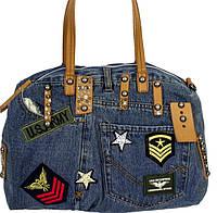 Стильная женская сумка из джинсовой ткани на длинных ручках