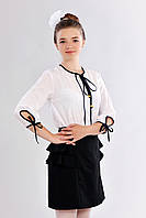 Школьная прямая юбка для девочки с рюшами черного цвета