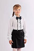 Школьная юбка для девочки с бантиками черного цвета