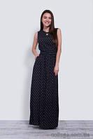 Платье вечернее черное длинное с серым принтом, 42-50 р