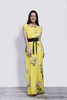Платье желтое в пол с цветочным принтом, 42-46 р