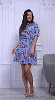 Платье голубое короткое с ярким принтом и накладными карманами, 42-48 р