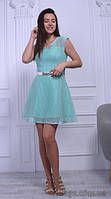 Платье бирюзовое короткое шифоновое молодежное с белым ремешком, 42-46 р