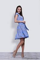Платье молодежное летнее голубое короткое со сборкой и поясом, 42-48 р