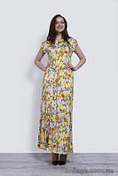 Платье длинное летнее женское с ярким принтом, 46-52 р
