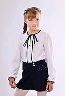 Школьные шорты-юбка для девочки синего цвета