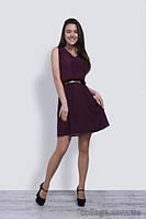 Платье темное крепдешиновое короткое с ремешком, 42-48 р