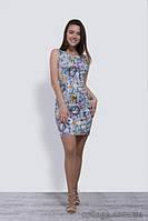 Платье короткое молодежное с оригинальным принтом