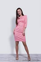 Платье розовое короткое со стразами на поясе и 3/4 рукавом с манжетом, 44-50 р