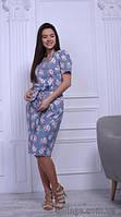 Платье летнее женское сатиновое с пастельным цветочным принтом, 44-50 р