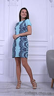 Платье короткое голубое летнее с широким темным гипюром, 44-50 р