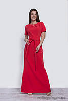 Платье красное нарядное в пол с коротким рукавом, поясом и брошью, 42-50 р