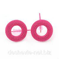 Серьги пуссеты сережки женские цветные 012SRpink серьги цена дешево