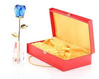 Роза высокая из стекла Сваровски Голубая Crystle Rose