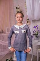 Модная кофта  для девочки-подростка серого цвета с белым воротничком 134-164
