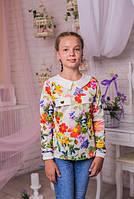 Стильная  кофта для девочки из  трикотажа с цветочным принтом и белым воротничком 134-164