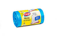Мешки (пакеты) для мусора полиэтиленовый (мусорный пакет) Top Pack® 60л 100шт/рулон голубой, фото 1