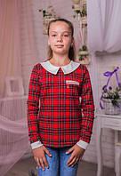 Красивая трикотажная кофта для девочки в клеточку красная  128-146
