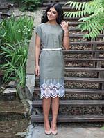 Элегантное женское платье из льна с белым вышитым ажурным узором  48, 50, 52, 54  размер