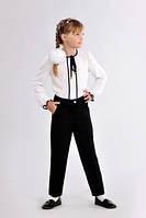 Классические детские школьные брюки  для девочки чёрного цвета