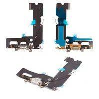 Шлейф для мобильного телефона Apple iPhone 7 Plus, белый, коннектора наушников, коннектора зарядки, с компонентами