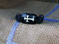 Кожаный браслет ЗНАКИ - КРЕСТ на руку, ручная работа