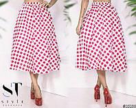 Женская  юбка со съемным фатиновым подъюбником   в горох НИ51