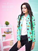 Куртка-бомбер женская модная на молнии софт 2 расцветки 6Gb114