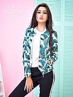 Куртка-бомбер женская модная на молнии сатин-коттон в яркий принт 6Gb116