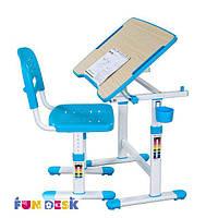 Комплект-растишка Парта 47х66 см и стул для детей 3 - 10 лет ТМ FunDesk Голубой PICCOLINO ІІ BLUE