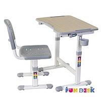 Комплект FunDesk Парта и стул-трансформеры PICCOLINO ІІ GREY для детей 3 - 10 лет ТМ FunDesk Серый PICCOLINO ІІ GREY