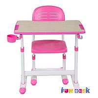 Комплект детской растущей мебели - Парта и стул для девочки 3 - 10 лет ТМ FunDesk Розовый PICCOLINO ІІ PINK