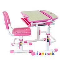 Комплект FunDesk Парта и стул-трансформеры Sorriso Pink для детей 3 - 12 лет ТМ FunDesk Розовый Sorriso Pink