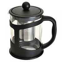 1106832 Чайник заварювальний для чаю, скляний, у чорній підставці, 0,6 л