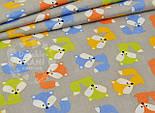 Лоскут ткани №839  с разноцветными лисичками на сером фоне, фото 2