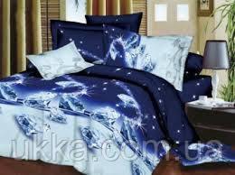 Двуспальное постельное белье 3D Микросатин Сапфир