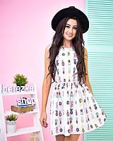 Платье модное с пышной юбкой в яркий принт мини софт 2 расцветки SMb1659